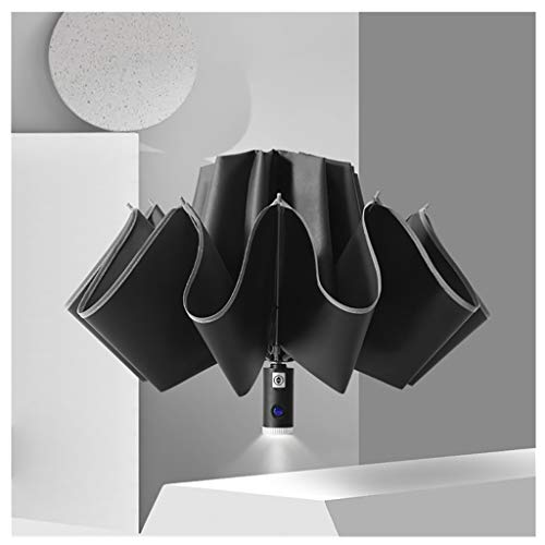 ErYao Inverted Umbrella, Windproof Umbrella,10 Ribs Reverse Umbrella with Reflective Stripe, Automatic Open and Close Compact Umbrella (Black)