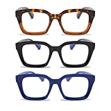 MMOWW Confezione da 3 Occhiali da Lettura Rettangolari - Oversized Square Frame Anti Luce Blu Occhiali donna uomo (Nero+Blu+Tartaruga, +2.0)
