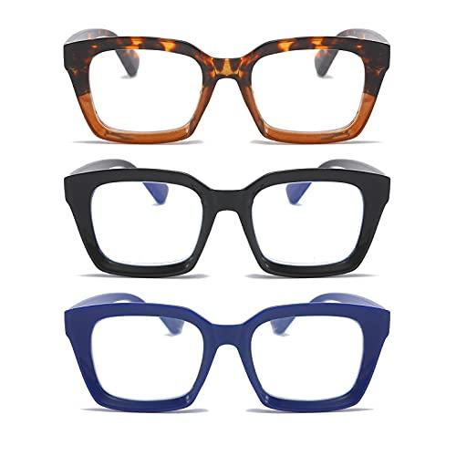 MMOWW Confezione da 3 Occhiali da Lettura Rettangolari - Oversized Square Frame Anti Luce Blu Occhiali donna uomo (Nero+Blu+Tartaruga, +2.5)