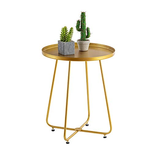 """HuiDao Round Side Table Metal End Table Tray Table Coffee Table for Living Room Bedroom Office Patio Yard Balcony, 21"""" H x 18"""" D (Gold)"""