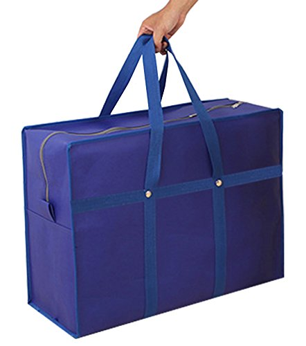 YunKo Storage Bag Clothes Storage Bins Beddings Blanket Bag Closet Organizer Storage Containers House Moving Bag Travelling Bag College Carrying Bag Camping Bag (Blue)