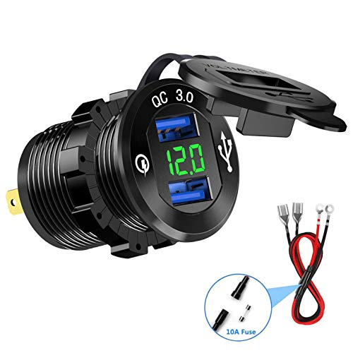 Cllena Quick Charge 3.0 Car Charger, 12V/24V 36W Dual QC3.0 USB Charger Socket Power Outlet with LED Voltmeter for Car Marine Boat Rv ATV UTV Truck Golf Cart etc. (Green)
