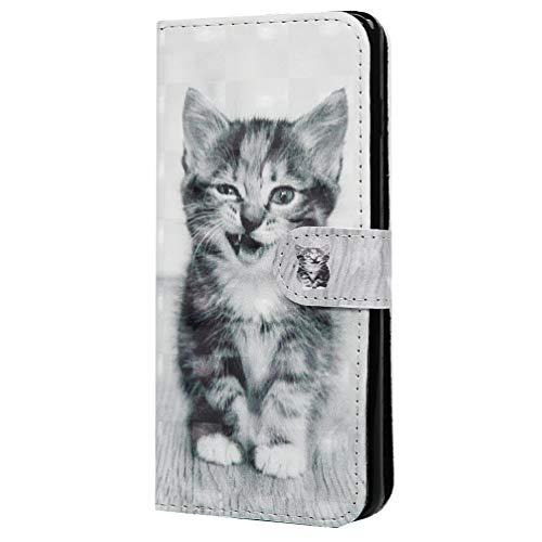 S10 Handytasche Kompatible für Samsung Galaxy S10 Hülle 3D Glitzer Muster PU Leder Tasche Handyhülle Wallet Flip Case Cover Mädchen Schutzhülle Skin Ständer Klappbar Schale Bumper Magnet Deckel-Katze