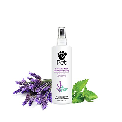 John Paul Pet Lavender Mint Detangling Spray for Dogs and Cats, Soothes Moisturizes and Replenishes Dry Unruly Fur, Non-Aerosol, 8-Ounce