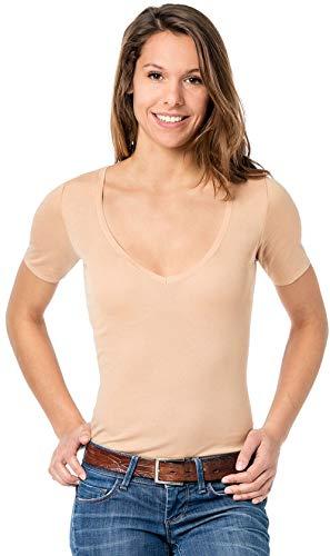 Covert underwear Damen Unterhemd - Unterhemd unsichtbar mit V-Ausschnitt - Business Unterhemd Damen, M, Hautfarben