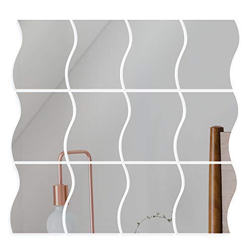 VINFUTUR Pegatinas Espejo Pared 9.5 * 12cm, 12pcs Espejos Pared Decorativos en Forma de Ola Vinilos Espejo con Adhesivo Láminas para Decoración Baño Espejo Plástico para Salón Oficina
