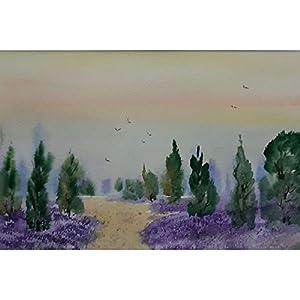 """""""Die Heide blüht"""" / Aquarellbild / 30 x 40 cm (Bild 20 x 30 cm)"""