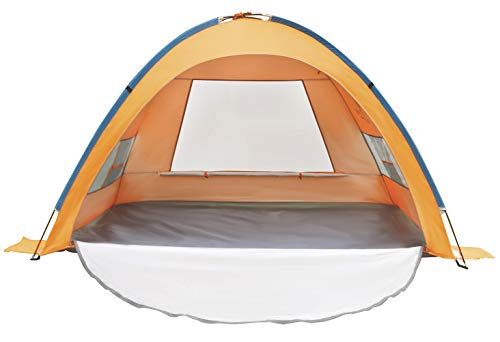 LINKE Beach Tent Sun Shlter, 4 Person Camping Sun Shade Canopy with Carry Bag, Easy to Assemble, XL Size, Orange
