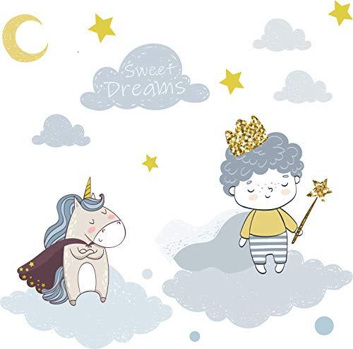 Wandtattoo Kinderzimmer Jungen - der kleine Prinz & Einhorn mit Wolken sowie Sternen Baby Kinderzimmer