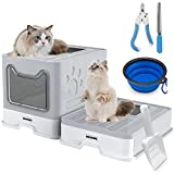 Cat Litter Box Large Pan - Foldable Top Exit Pet Boxes with Entry Lid, Plastic Cleaning Scoop,Cat Nail Clippers,Portable Cats Bowl (Grey)