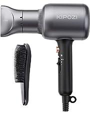 KIPOZI Secador de Pelo Profesional, Secador Pelo Iónico de 2200W, Potente Secador de Pelo de Salón para Secado Rápido con Concentrador y Peine, 2 Velocidades y 3 Temperaturas, Gris