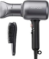 Idea Regalo - KIPOZI Asciugacapelli Professionale, Phon per Capelli Ionico da 2200W, Potente Fon da Salone per Un'Asciugatura Rapida – con Concentratore & Pettine, 2 Velocità & 3 Temperatura, Grigio