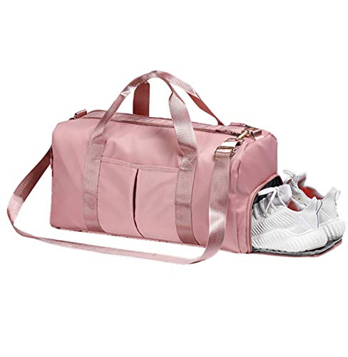 Pink Sports Gym Bag with Wet Pocket and Shoe Compartment,Workout Duffel Bag for Women
