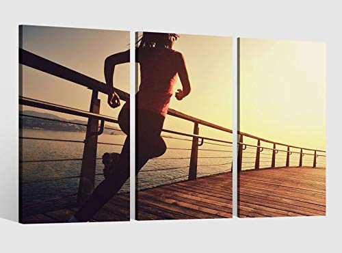Leinwandbild 3 tlg Sport Frau laufen joggen Frau Fitness Bild Leinwand Leinwandbilder Wandbild gerahmt 9BE174, 3 tlg BxH:120x80cm (3Stk 40x 80cm)