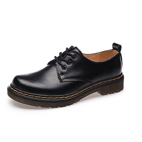 Shenn Mujer Low-Top Uniforme Vestir Confortable Oxfords Cuero Zapatos (Negro,38...