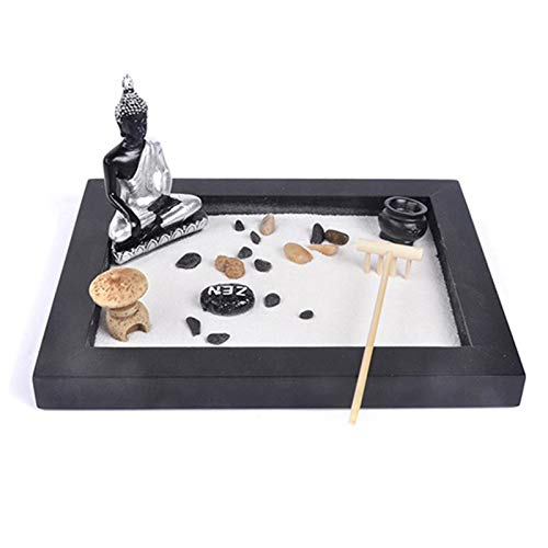 FRIUSATE Desktop Zen Garden, Mini Zen Table Garden with Zen Garden Sand, Yoga Buddha Statue, Rocks, Rake, Stones for Home Office Decoration(01)
