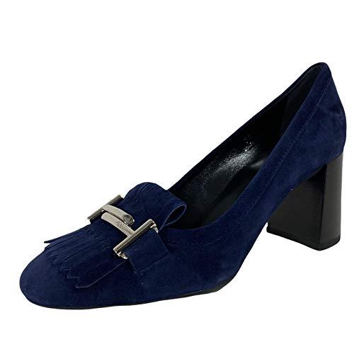 C61 Decollete Donna Blue Tod'S frangia Double T Suede Shoe Woman [37.5]