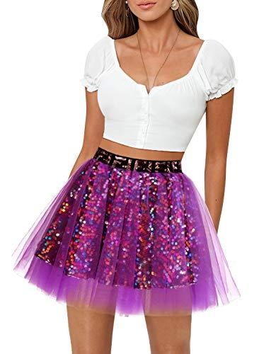 Aupuls Tutú básico para mujer, falda de tul, con lentejuelas, disfraz de niña morado L