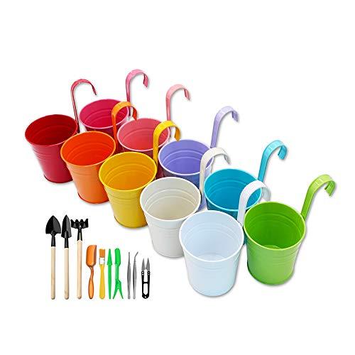 GIOVARA Vaso portafiori in Metallo a Forma di Secchiello da Appendere con Attrezzi da Giardino, Vaso da Giardino con Foro di drenaggio e Gancio Rimovibile (10 Pezzi con 10 colori assortiti)