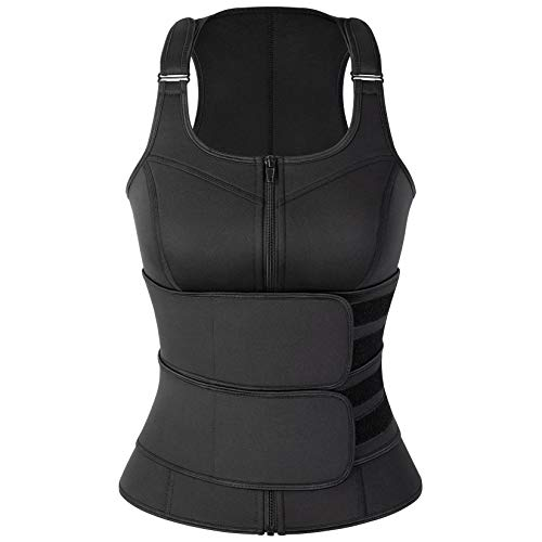 KIWI RATA Sauna Waist Trainer Vest for Women Plus Size Sweat Suit 2 Compression Trimmer Band Neoprene Workout Body Shaper