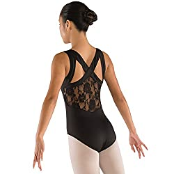 DanzNmotion by Danshuz Women's Lace Back Straps Leotard - 2403a