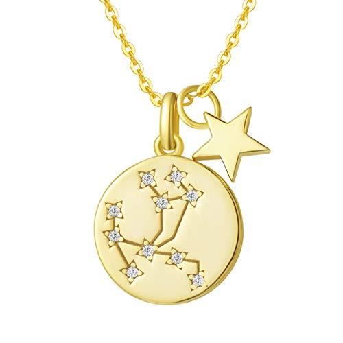 FANCIME Collar con Colgante de Signos del Zodiaco Sagitario Horoscopo Collar para Mujer de Plata de Ley 925 Chapada Oro Amarillo y Circonita Cúbica - Longitud Cadena: 40 + 5 cm