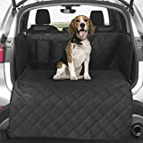 Quilted SUV Cargo Liner for Dogs, Waterproof Pet Cargo Cover Liner with Side Walls Protector and Bumper Flap, Non-Slip Backing SUV Dog Cover for Cargo Area , Medium &Large SUV Black