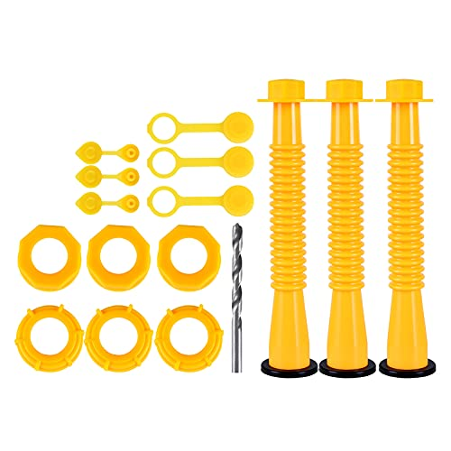 Gas Can Spout Gas Con Spout Replacement Kit. (3 Kit-Yellow) Fits Most 5 10 Gallon Gas con. Thickened Gas con Threaded Cap and Gasket, Gas can Nozzle, Gas con Vent caps, Spout Cap.