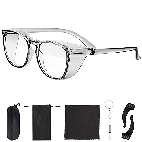 FORITOAST Anti Fog Safety Glasses, Fashionable Safety Anti Blue Ray,Fog,Dust Goggles with Packaging Box Include Glasses Anti Slip Silicone and Cleaning Cloth&Screw Driver Ideal for Men Women(Gray)