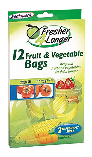 Sealapack Ready to USE Fruit & Vegetable, Fresher 4 Longer Bags, Pack of 12 Obstbeutel, Kunststoff, farblos, 0 mm