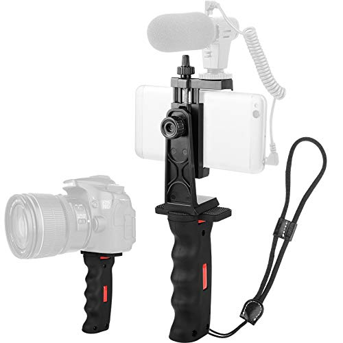 Cell Phone Handle Grip Stabilizer,Camera Handlegrip Phone Holder with Cold Shoe Mount for Mic /Flash Light,Ergonomic Phone Video Stabilizer,Handheld Selfie Stick Smartphone Holder with Wrist Strap