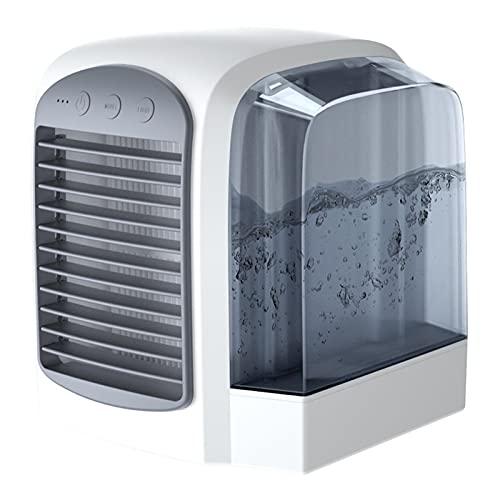 BIIII Aire acondicionado portátil, ventilador silencioso para escritorio con recarga USB, 3 velocidades y colores de luz nocturna, para el hogar, oficina, dormitorio, al aire libre, sueño