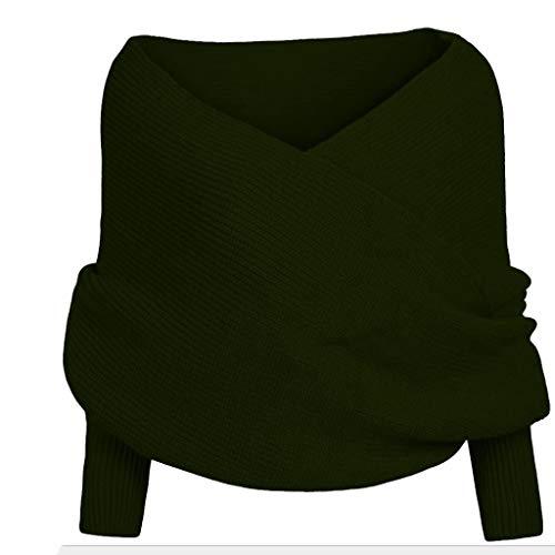 Lazzboy Frauen-fester Schal-Hülsen-Häkelarbeit-Strick-langer weicher Winter-Schal(Grün)