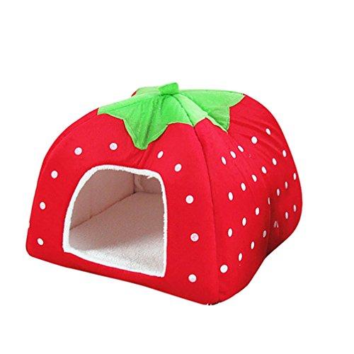 JEELINBORE Weiche Haustier Erdbeeren Schlafsack Hundehütte Katzenhöhle Hund Katze Haus Kuschelhöhle Körbchen (Rot, L: 36 * 36 * 38cm)