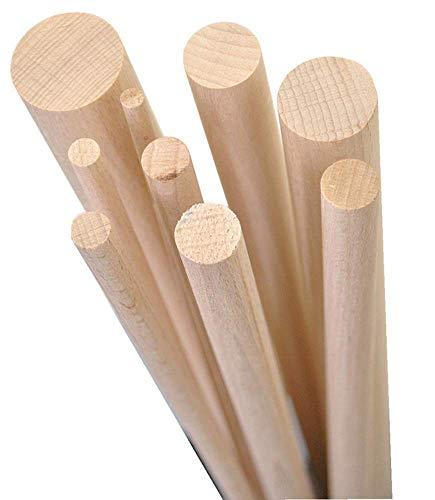 Gedotec Buchenrundstab 20 mm Bastelstäbe glatt aus BUCHE | Länge der Rundstäbe 2000 mm | stabile & hochwertige Holzstäbe aus Buchenholz | Made IN Germany | 5 Stück - Rundhölzer zum Basteln & Garten