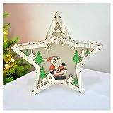 DSENIW QIDOFAN Artisanat Noël étoile à Cinq Branches d'éclairage, Le Père Noël Décorations en Bois, Artisanat Cadeau