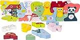 Small Foot Design 10869 ABC - Puzzle de 26 Animales de Madera con Letras y Caras de Colores, Juguete Educativo para niños preescolares a Partir de 3 años