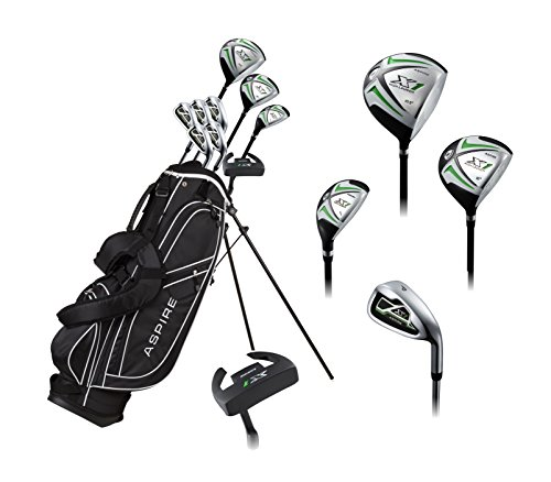 Aspire X1 Men's Complete Golf Set Includes Titanium Driver, S.S. Fairway, S.S. Hybrid, S.S. 6-PW Irons, Putter, Stand Bag, 3 H/C's Right Hand Tall Size for Men 6'1