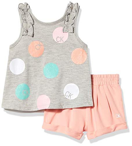 Calvin Klein Girls' 2 Pieces Shorts Set, Grey/Peach, 3T