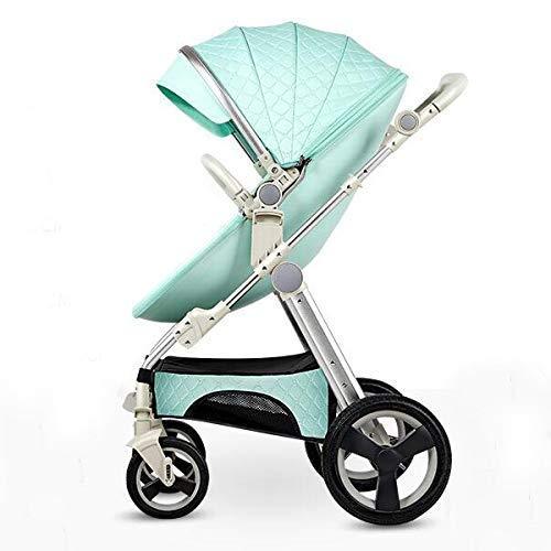Pushchair 3-in-1-Babyby-Kinderwagen für Hochleistungs-Eierschale zum Sitzen und Liegen zweiseitiger Kleinkind-Sessel mit Baby-Knottchen-Kombination Strollers 0-3 Jahre,Green