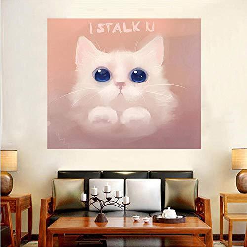 Diamant-schilderij, 5D, knutselen, diamant, rond, schattig, kat, 50 x 55 cm, kruissteek, borduurwerk, decoratie voor huis, handwerk