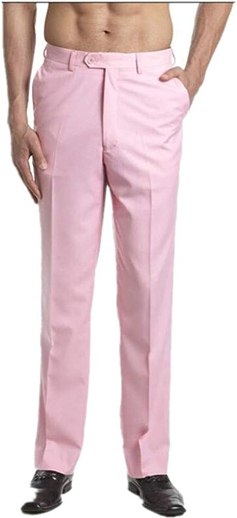 MiBotong Men's Casual Pants Straight-fit Flat-Front Pants Wrinkle-Free Relaxed Fit Work Trousers