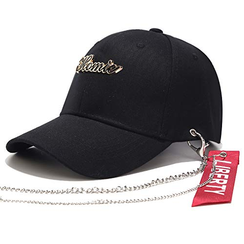 CMM Punky Gorra de béisbol, la Cadena del Hierro Streamer Hip-Hop enarboló el Sombrero, Parasol tamaño Ajustable, Unisex, Conveniente para el Recorrido al Aire Libre, Partido,Negro