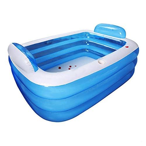 TrendClub100® Aufblasbarer Swimming Pool - PVC-Schwimmbecken für Kinder & Erwachsene - Outdoor-Planschbecken, Aufstellpool, optimal für Garten, Terrasse, Balkon - Rechteckig, blau (140 x 100 x 40 cm)