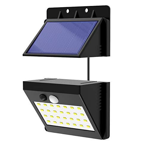 Luce Solare LED Esterno T-SUNRISE 28 LED lampada solare da Giardino applique da parete impermeabile solare di sicurezza esterna con 3 modalità intelligenti