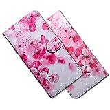 MRSTER Moto E6 Plus Handytasche, Leder Schutzhülle Brieftasche Hülle Flip Hülle 3D Muster Cover mit Kartenfach Magnet Tasche Handyhüllen für Motorola Moto E6 Plus. BX 3D Pink Cherry