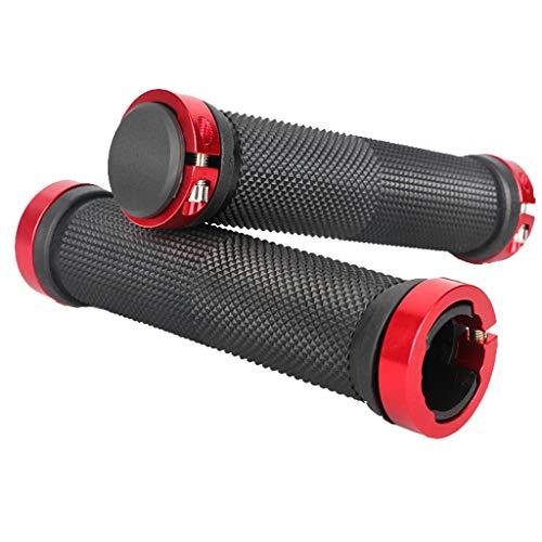 freneci 2 Pairs Biking Handlebar Grips Aluminum Alloy Double Lock for Bike Red