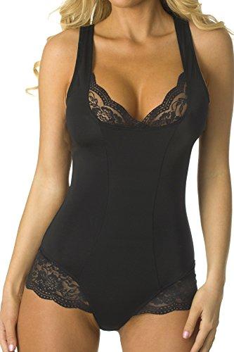 Velvet Kitten Lacey Accent Body Shaper Bodysuit #303538 (Small, Black)