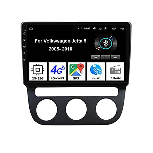 Android Autoradio Car Stereo Radio De Coche Pantalla Tactil Coche GPS Navegación Para Volkswagen Jetta 5 2005-2010 Conecta Y Reproduce Cámara De Respaldo Estéreo De Coche Audio FM/Am/RDS