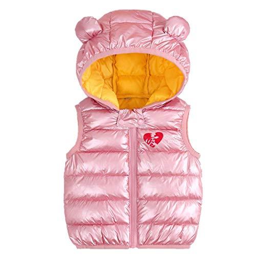 Bebé Chaleco de Abajo Infantil Chaleco de Plumas Invierno Encapuchado Chaquetas Acolchado Ligero sin Mangas Abrigo, 3-4 Años